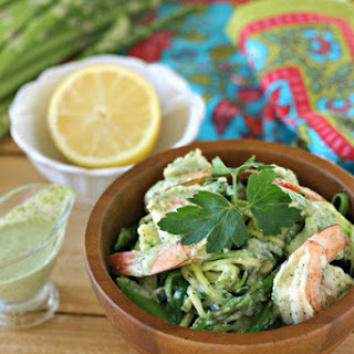 "Shrimp in Green Sauce over Zucchini ""Noodles"""