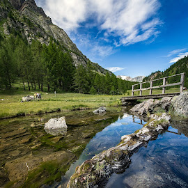 Alpe Devero by Alessio Coluccio - Landscapes Mountains & Hills ( devero water lake streghe mountain landscape clouds sky )