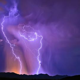 Rain of Purple Fire-2013 by Steven Love - Landscapes Weather ( purple, thunderstorm, colorful, image, storm, landscape, photo, manipulation, two, mountains, lightning, season, arizona, dark, artistic, weather, night, arlington arizona )