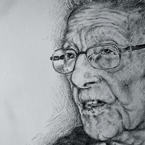 95 years old man, study by David Van der Smissen - Drawing All Drawing ( face, old, portret, belgium, man, human )