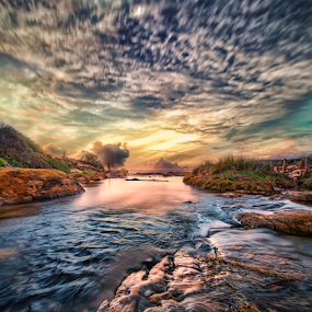 Sunset Over Creek by Greg Tennant - Landscapes Sunsets & Sunrises ( water, sunset, creek,  )