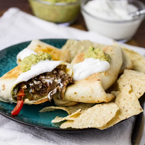 Baked Chimichangas with Shredded Beef