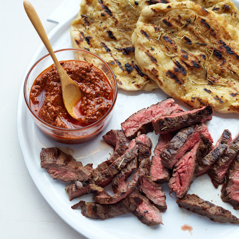 Grilled Skirt Steak with Smoky Almond Sauce
