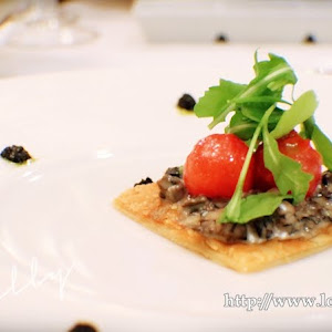 Warm Vegetables Tart With Mushroom Duxelle Scented Truffle Tomato Confit Wild Arugula And Black Olive Oil