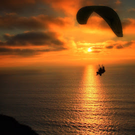 Sun Set Ride by Anthony Drake - Sports & Fitness Other Sports ( ride, flight, fly, sunset, reflections, glider, up )
