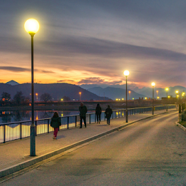 walkers by Branislav Rupar - Sports & Fitness Other Sports ( fencing, hikers, sunset, street, trail, swimming pool, night, bridge, swimming, walkers, river, city )