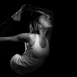 Emily Yoga by Jeff Klein - Sports & Fitness Fitness ( studio, black and white, sports, fitnss, yoga, athlete, emily )