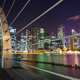 singapore by the bay by Nikon Guy - City,  Street & Park  Skylines ( water, skyline, reflection, color, night, singapore, city )