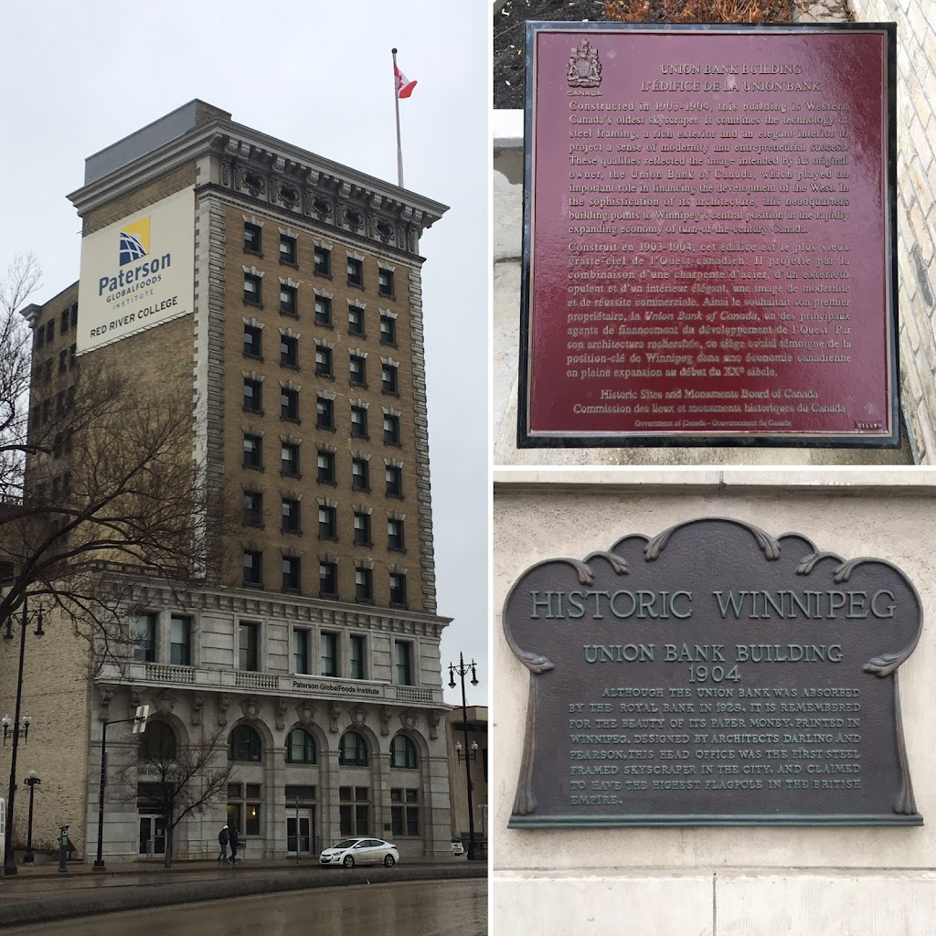Union Bank Building(Top right plaque. English transcription)  Constructed in 1903-1904, this building is Western Canada's oldest skyscraper. It combines the technology of steel framing, a rich ...