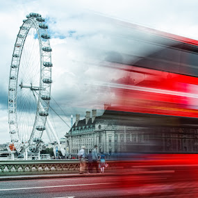 Speeding by Jon Hunter - Transportation Automobiles ( london eye, red bus, london bus, motion blur )