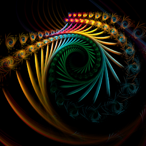 As the Peacock Travels by Nancy Bowen - Illustration Abstract & Patterns ( black background, abstract art, swirls, feathers, fractal )