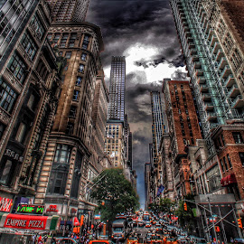 Clouded by Renita Beaus - Buildings & Architecture Other Exteriors ( clouds, busy, nyc, newyork, city )