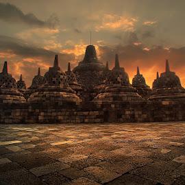 candi Borobudur by Irwan Setiawan - Landscapes Travel ( temple yogyakarta indonesia landscape, landscape, borobudur )