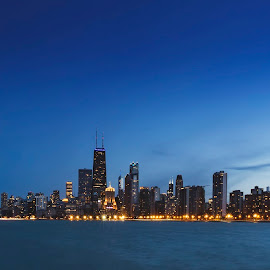Windy City Twilight by Christopher Pischel - Buildings & Architecture Office Buildings & Hotels ( water, chicago skyline, skyline, sky, twilight, buildings, long exposure, tourism, travel, architecture, chicago, evening )