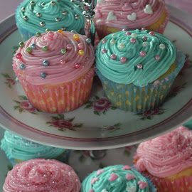 Shades of Pink by Bethany Davies - Food & Drink Cooking & Baking ( cupcakes, blue, pink, delicious, party )