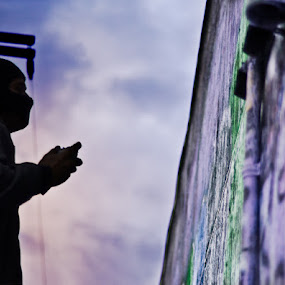 Painting the Sky by Launa Bodde - People Portraits of Men ( graffiti, street )