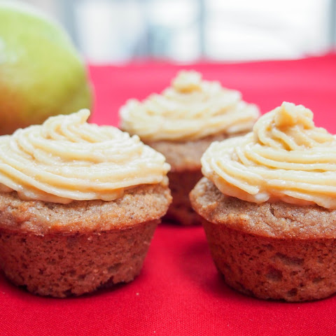 Chestnut and pear cupcakes with caramel buttercream frosting (GF)