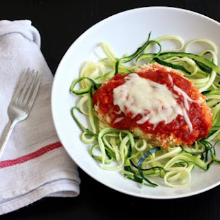 Baked Parmesan Chicken with Zucchini Noodles