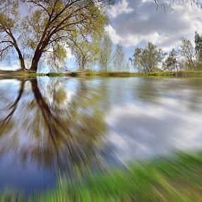 Nice day by Zenonas Meškauskas - Digital Art Places ( clouds, reflection, tree, zoom, blur, day )