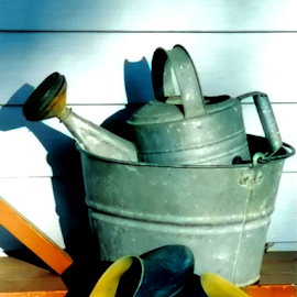 The End of the Day by Nancy Bowen - Novices Only Objects & Still Life ( clogs, bucket, gardening, sprinkling can )