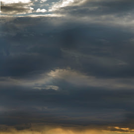 golden lining by Barbara Springer - Landscapes Cloud Formations ( clouds, mountain, weather, ray of sun, landscape )