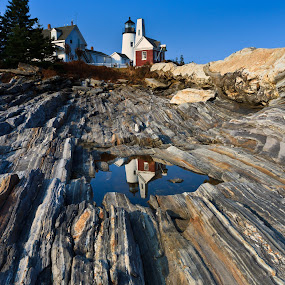 Pemaquid Point Lighthouse by Tom Whitney - Travel Locations Landmarks ( maine, lighthouse, pemaquid, rocks, coast )