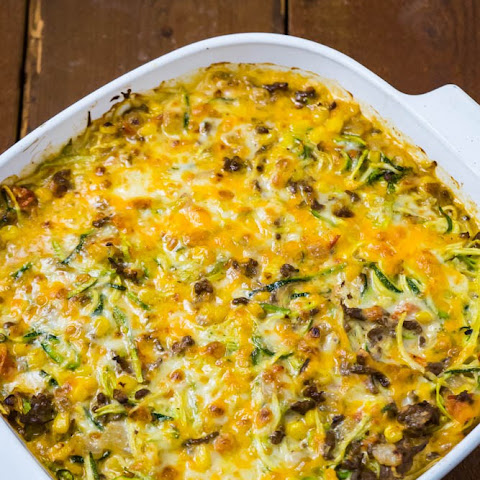 Cheesy Zucchini Bake with Corn and Ground Beef