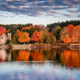 Fall on the Wachusett Reservoir by David Long - Landscapes Travel ( old stone church, fall colors, wachusett )