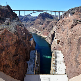 The Hoover by Vita Perelchtein - Novices Only Landscapes ( water, upstream, lake mead, hoover dam, blue, dam, downstream, bridge, sku, vegas, river )