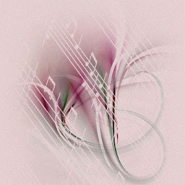 The Sound of Music by Nancy Bowen - Illustration Abstract & Patterns ( music, abstract curves, pink, notes )