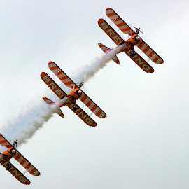 Breitling Wingwalkers by James Charlton - Transportation Airplanes ( riat, breitling, wingwalkers, fairford, airshow )