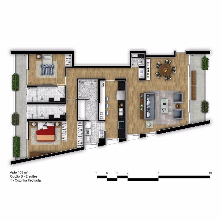 Planta Tipo Final 2B com Cozinha Fechada - 158 m²