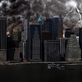 NYC Lightning storm by Alex  Wolf - City,  Street & Park  Skylines ( strom, clouds, alex wolf, lighting, wolfproduction.us, donwtown, strikes, manhattan, nyc )