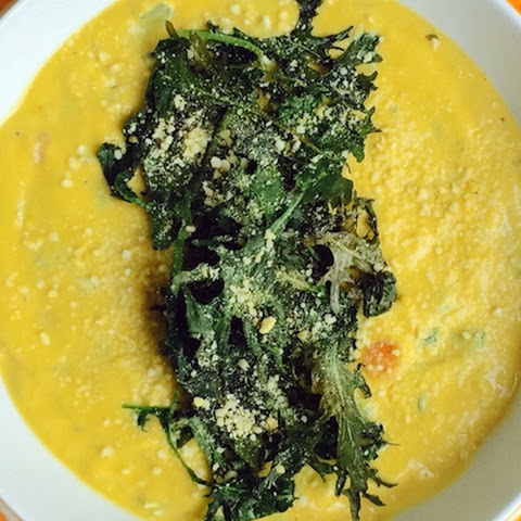 Cauliflower Cream Soup with Crispy Kale
