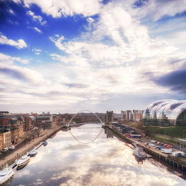 The Tyne by Adam Lang - City,  Street & Park  Vistas ( clouds, sky, millennium bridge, gateshead, newcastle, the tyne )