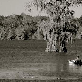 Relaxing on the lake by Zeralda La Grange - Digital Art Places ( #lake, #nature, #trees, #water, #kayak, #blackandwhite )