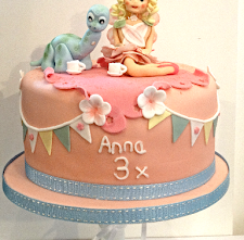 Princess and Dinosaur Tea-Party Celebration Cake