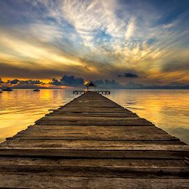 Sunrise  by Fahriadi Yusuf Abdulfattah - Landscapes Sunsets & Sunrises ( indonesia, architecture, seascape, sunrise, landscape )