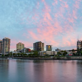 Brisbane River Panorama by Jacob Marsh - City,  Street & Park  Skylines ( skyline, hdr, skyscrapers, brisbane, travel, cityscape, panorama, city, colour, sky, skyscraper, riverside, color, australia, skylines, panoramic, travel photography, city skyline, travel locations, river )
