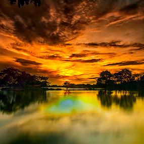 Cipondoh lake by Mc Pujiyanta - Landscapes Sunsets & Sunrises ( water, waterscape, sunsets, sunset, lakes, landscaping, landscape photography, landscapes, landscape )