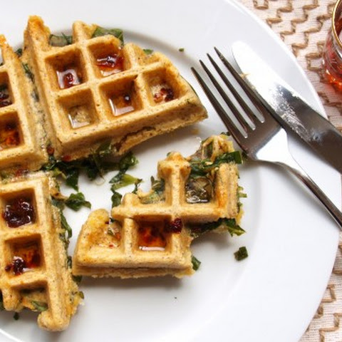 Collard Stuffed Cornbread Waffles with Chipotle Syrup