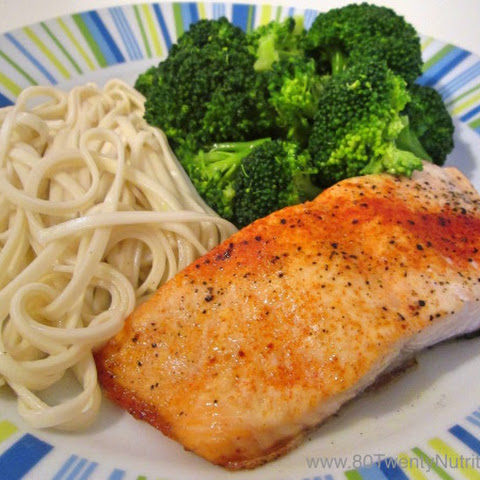 Baked Paprika Salmon with Broccoli and Brown Rice Noodles