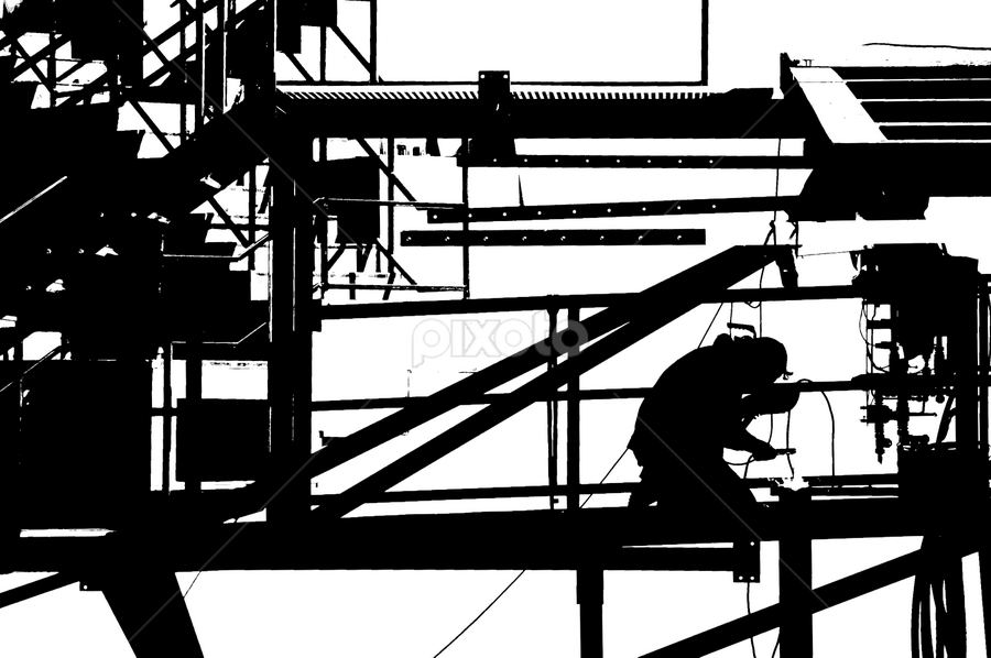 Man at Work by Jesus Giraldo - Abstract Fine Art ( urban, city, work, silhouette, black&white, man, structure )