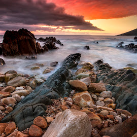 Painted by Nature by Chris Coetzee - Landscapes Sunsets & Sunrises ( water, tranquil, sunset, sea, rocks )
