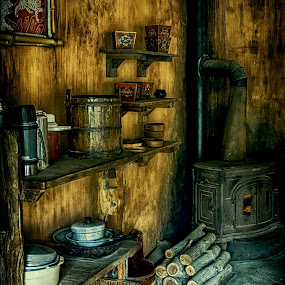 Primitive Kitchen by Scott Bryan - Artistic Objects Still Life ( stove, still life, artistic objects, kitchen, firewood, primitive )