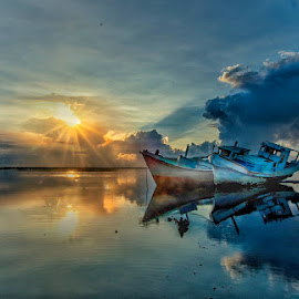 by Bobo Tandiono - Landscapes Waterscapes ( clouds. sun.boat.beach )