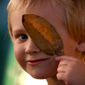 Leaf a boo by Ivy Luna - Babies & Children Child Portraits ( #smiling child, #child, #smile, #child with leaf, #babies & children,  )