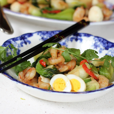 Baby Bok Choy with Shrimp and Quail Eggs