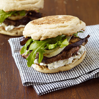 Grilled Steak and Mushroom Sandwiches with Blue Cheese