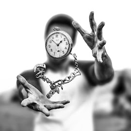 Like Clockwork  by Kyle Re - Artistic Objects Other Objects ( highspeed, pocketwatch, unique, clock, black and white, bright, fine art, object, people, suspended, contrast, pocket watch, macro, time, fineart, chain, hands, outdoors, levitate, high contrast, antique )